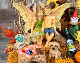 Fairy Garden - Fall Miniature Fairy Garden/Complete Fairy Garden/Fall Decoration/Faux Fairy Garden/Anniversary Gift for Mom/Hostess Gift