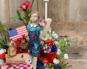 Fairy Garden - Girl fairy with Dog in basket/4th of July Decoration/Fairy Garden Kit Complete/Fairy Garden Supplies/Miniature Fairy Garden