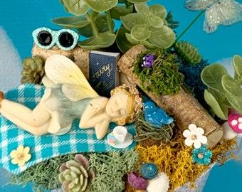 Fairy Garden, Sleeping Fairy, Complete Fairy Garden, Fairy Garden Accessory, Fairy Garden Complete Kit, Fairy Garden Kit/Fairy Garden Supply