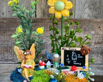 Fairy Garden, Teacher Fairy Garden, Miniature Fairy Garden, Miniature Garden Accessories, Complete Fairy Garden, Fairy Garden Supply