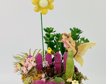 Fairy Garden - Mom & Toddler Garden Fairies/Miniature Fairy Garden Kit Complete/Fairy Garden Supplies/Dollhouse Miniatures/Miniatures/
