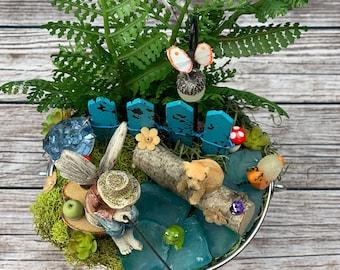 Fairy Garden - Boy Fishing with Dog and Snail Fairy Garden/Fairy Garden Supply Kit Complete/Miniature Garden/Dollhouse Miniatures