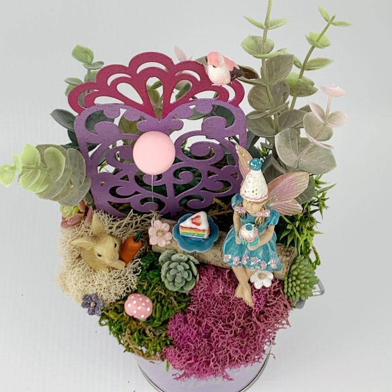 Fairy Garden Girl Birthday Purple Fairy GardenFairy Garden Kit CompleteDollhouse MiniaturesMiniature Fairy Garden SuppliesPink Balloon