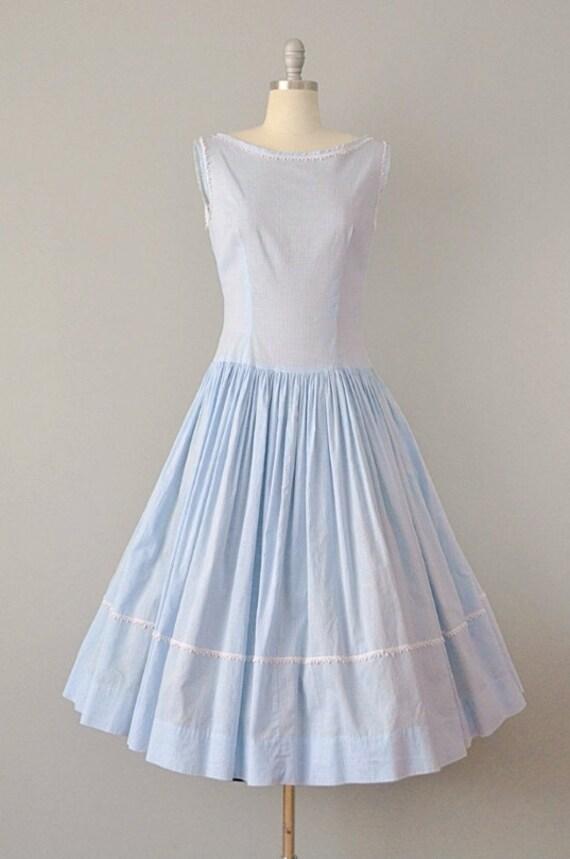1950's Vintage Blue Cotton Gingham Dress