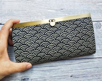 Japanese Seigaiha Wave Fabric Wallet,Slim Wallet, Clasp Purse, Japanese Wallet,Womens Wallet, Women's wallet,Metal Frame Wallet,Gift for her