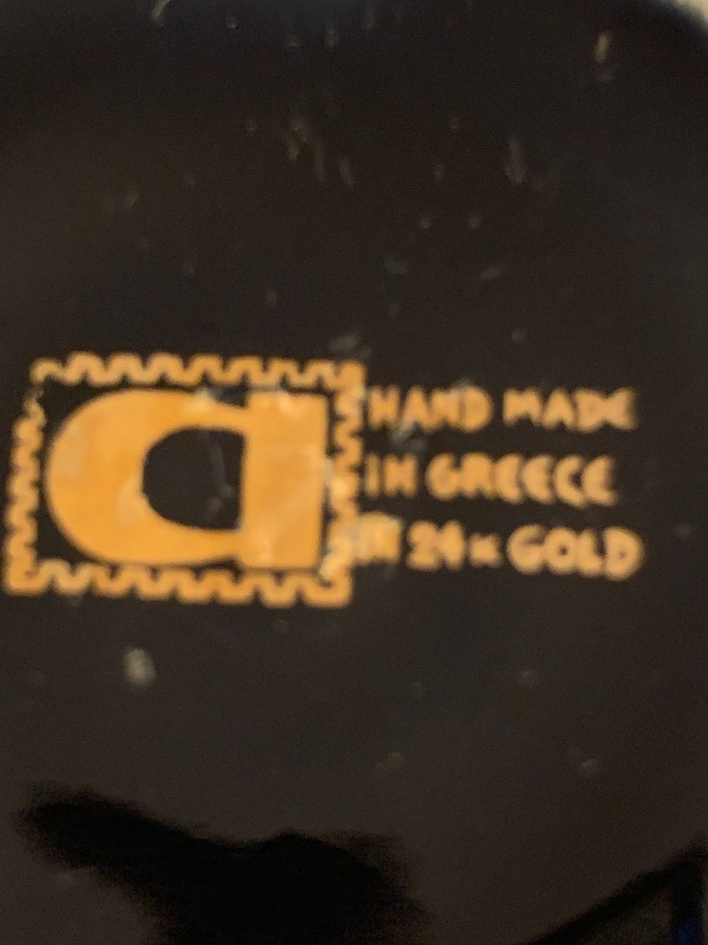 Greek Black and Gold Vase Handmade in Greece