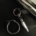 SILVER BULLET dangle mono earring, unisex and alternative