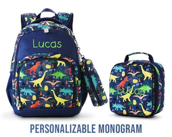 Dinosaur Monogram backpack, monogram school bag, personalized backpack, Personalized lunch bag, Pencil case