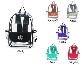Monogrammed Clear Backpack School Approved Backpack Personalized Clear Backpack