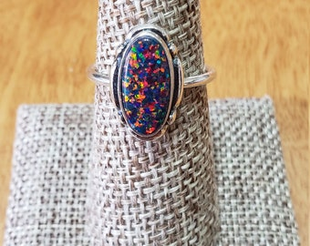 Handmade solid black opal ring with Cubic zirconia around the opal stone solid sterling silver