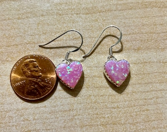 Sterling Silver Blue Opal Heart Pink CZ Lever Back Earring E4236 Birthday Mom Valentine Gift Gorgeous Blue Opal Heart Earring Statement PC