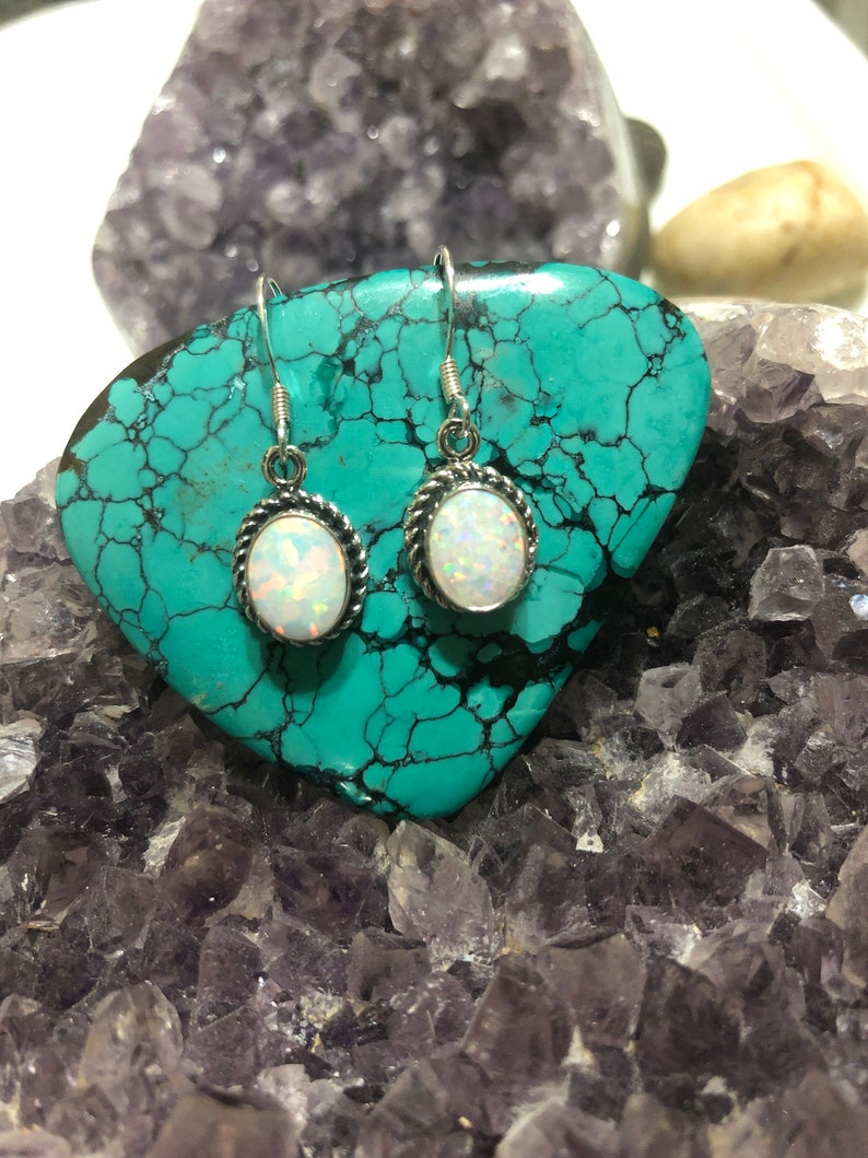 Fire White Opal Earring Sterling Silver  Genuine 925  Dangle Dangling Earring  Made In USA