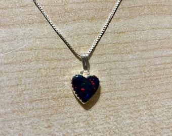Heart Black Fire Opal Pendant Necklace/925 Silver/Handmade/Heart Pendant/Opal Pendant/Made In USA