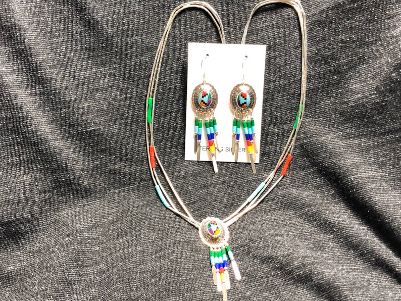 Set  Sterling Silver jewelry sets southwestern style  multi color necklace and earring  jewelry is made in Albuquerque