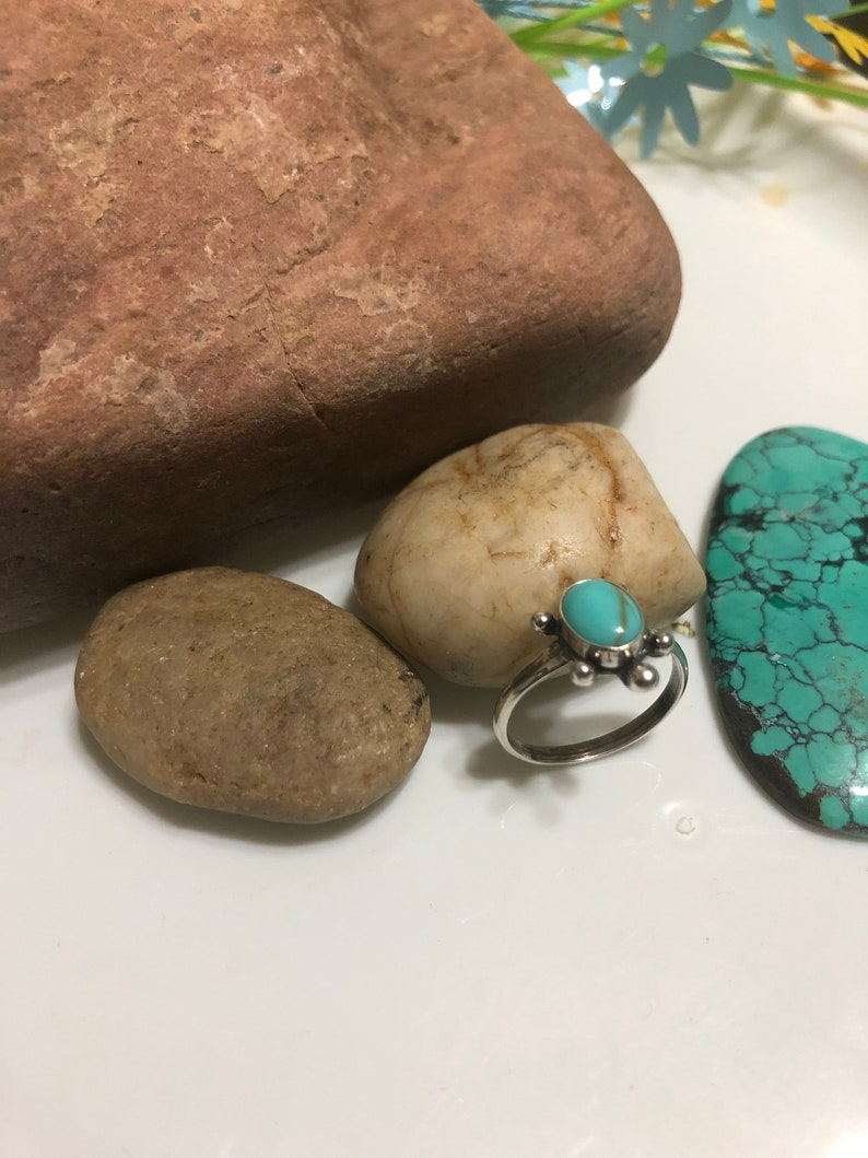 Turtle Ring Sterling Silver Turquoise Dainty Turtle RingMade In USA