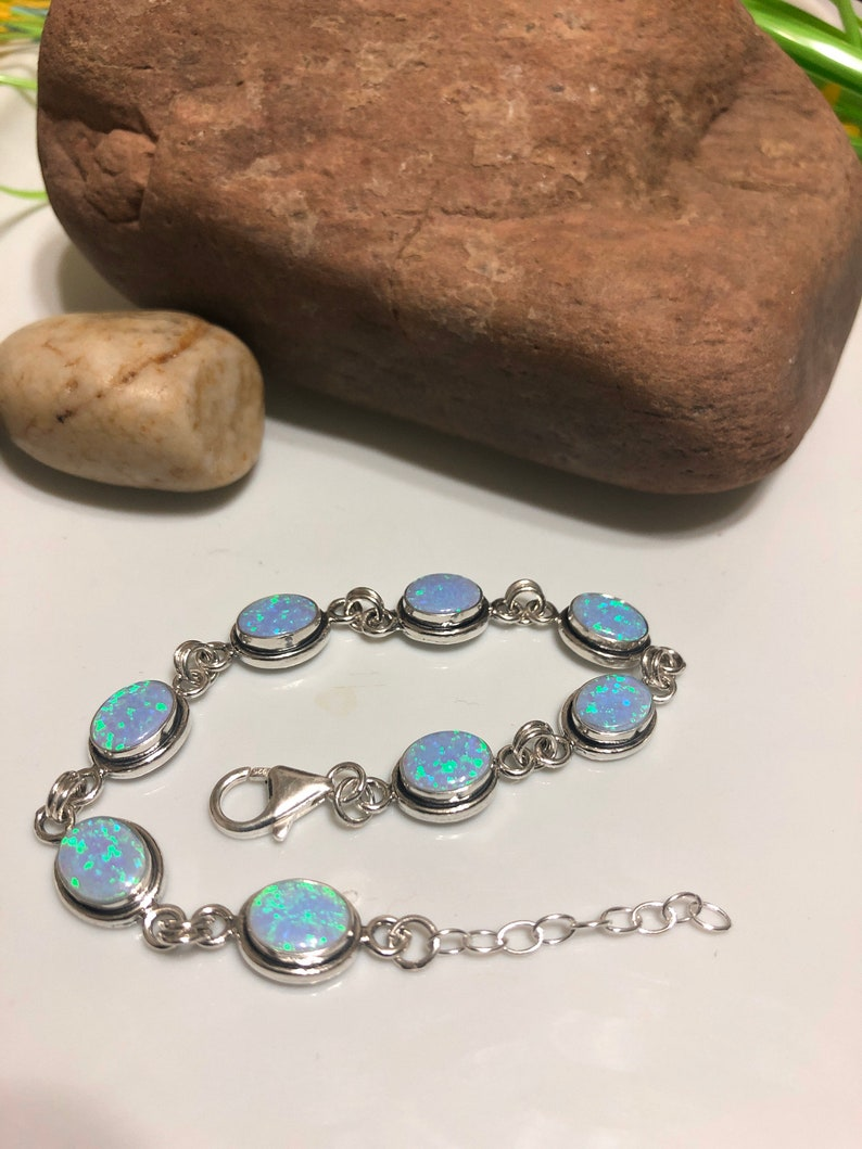 Fire Opal Bracelet Blue Opal link bracelet Handmade Jewelry  Bridesmaid GiftMade in USA