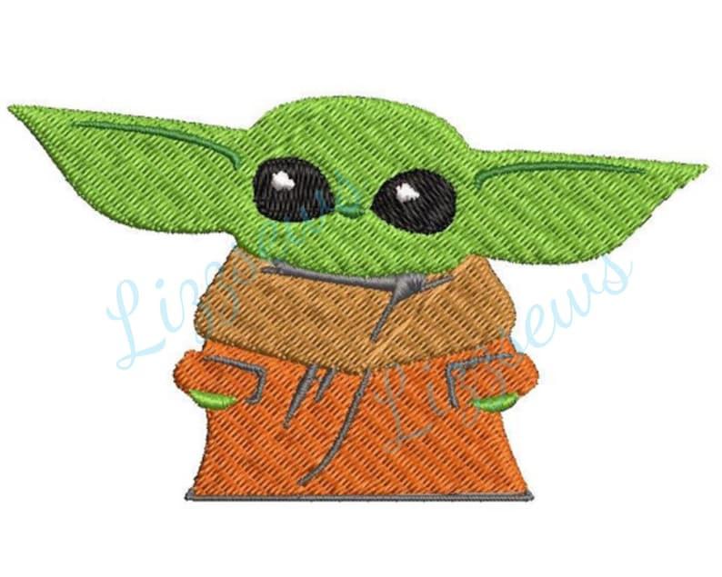 Baby Yoda Embroidery Design image 0