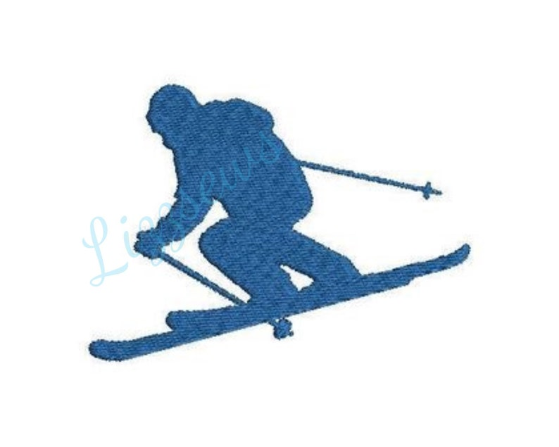 Skier shadow embroidery design image 0