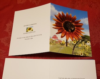 Sunflower and Bees Notecard