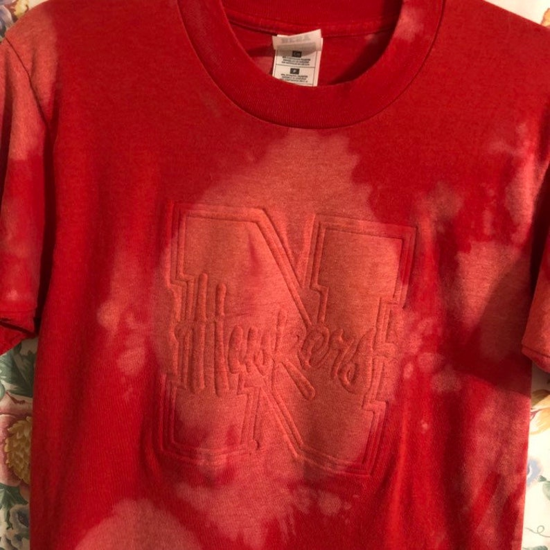 red white grunge distressed style FREE SHIP- Restyled Nebraska upcycled womens style t shirt size M football tailgate bleach splatters