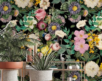 Colorful Garden Plants Dark Floral Flowers Modern Background Wallpaper Self Adhesive Peel and Stick Wall Mural Wall Decoration Removable