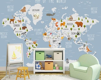 Animal World Map Wall Sticker Removable Decal Mural Bedroom Kids Room Decor FA