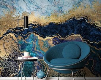 Blue Marble Wallpaper Etsy