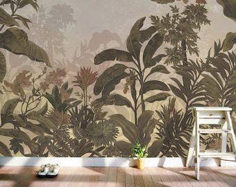 Tropical Exotic Jungle Dark Plants Rainforest Floral Wallpaper Self Adhesive Peel and Stick Wall Sticker Wall Decoration Design Removable