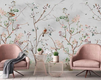 Flowers Birds Floral Background Chinoiserie Wallpaper Self Adhesive Peel and Stick Wall Sticker Wall Decoration Design Removable