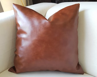 Cognac Faux Leather Pillow Cover Brown