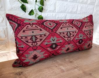 Antique Pillow,Designer Kilim Pillow,12x20 Neck Pillow Cover,Hemp Pillow,Throw Pillow,Best Pillow,Pink Pillow,Flat Pillow SP3050 4956