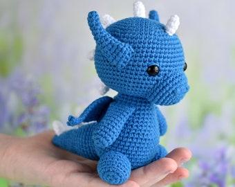 Saphira dragon / Eragon Blue Dragon / Dragon plush toy / Crochet Fantasy Dragon