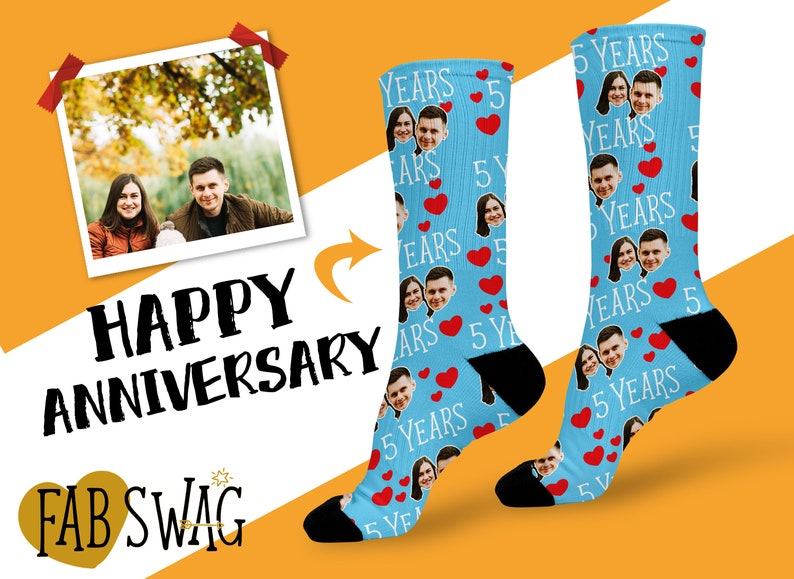 Featuring a set of customized couple socks with your cute faces, you instantly possess a quirky anniversary gift for your sweetheart. This 5th anniversary present idea will send to your lover happy vibes and romantic feelings.