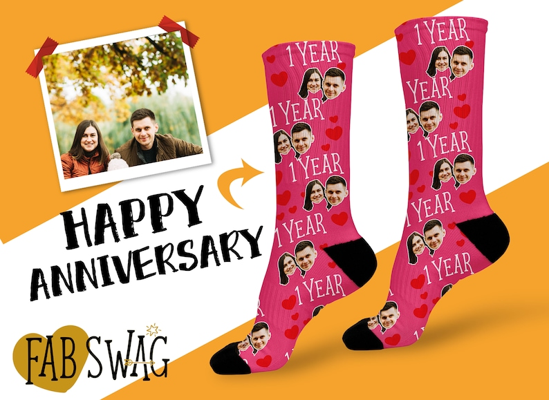 Men can never get enough of socks. Get him custom face socks and make them a funny anniversary gift for him. We are sure that he will be very happy and feel funny with these socks. Let him wear them and feel your warm care.