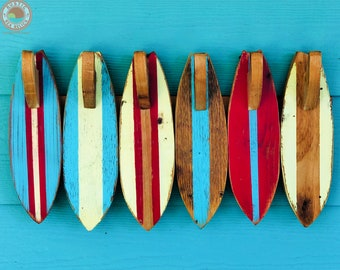 Outdoor Towel Rack / Wooden Surfboard Towel Hooks / Beach House Decor / Coastal Decor