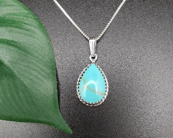 Kingman Turquoise PendentFeather  Sterling Silver Southwestern Pendent Necklace Turquoise Pendent one FeatherMade in USA