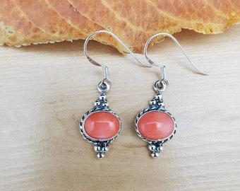 Pink Dangle Drop Earrings Pink Coral Earrings Sterling Silver Cascade Earrings Waterfall Earrings Long Casual Earrings