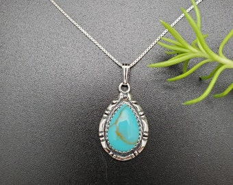 beaded turquoise necklace Silver Chain Turquoise Silver necklace Turquoise Charm- Sterling Silver V Necklace-Dainty Turquoise Necklace
