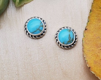 SoCute925 6mm Kingman Turquoise Sterling Silver Posts Earrings | Turquoise Studs 925 | Made in USA