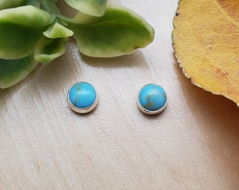 SoCute925 5mm Kingman Turquoise Studs | Earrings | Sterling Silver | Turquoise earring Studs | Dots | Made In USA