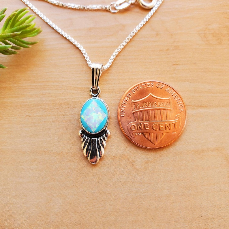 SoCute925 Dainty White Opal Turquoise Necklace Pendant With Silver Box Chain Necklace 18 Sterling Silver Necklace Dainty Necklace