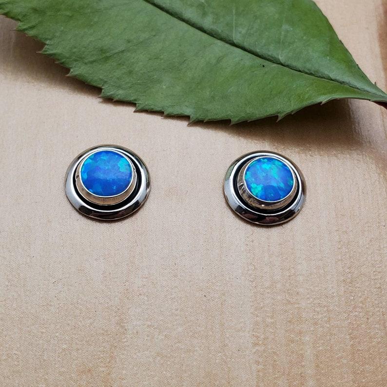 Sterling Silver Posts Blue Opal Stud Earrings SoCute925 Small Dark Blue Opal Studs Blue Opal Post Earrings Small Concho Earrings