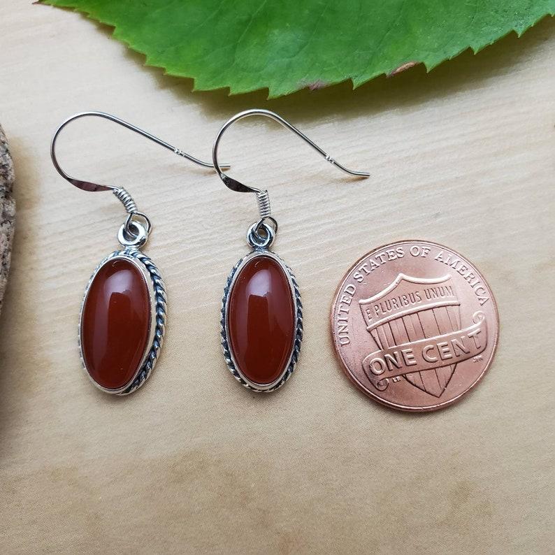 Made in USA Long Oval Carnelian Earrings Sterling Silver Dangle Earrings Southwestern Jewelry SoCute925 Carnelian Dangle Earrings