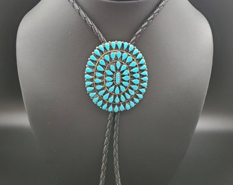SoCute925 Big Cluster Turquoise Bolo Tie Necklace | Genuine Leather Sterling Silver Polo Tie | Big Turquoise Southwest Bolo Tie Necklace