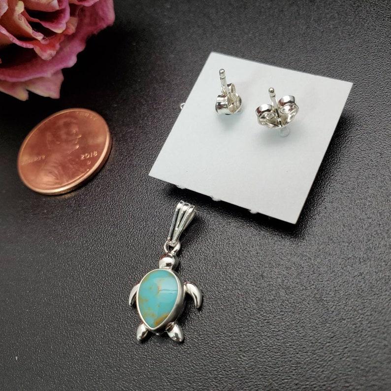 Pendant SoCute925 Sea Turtle Earrings And Pendant Set Kingman Turquoise Teardrop Earrings