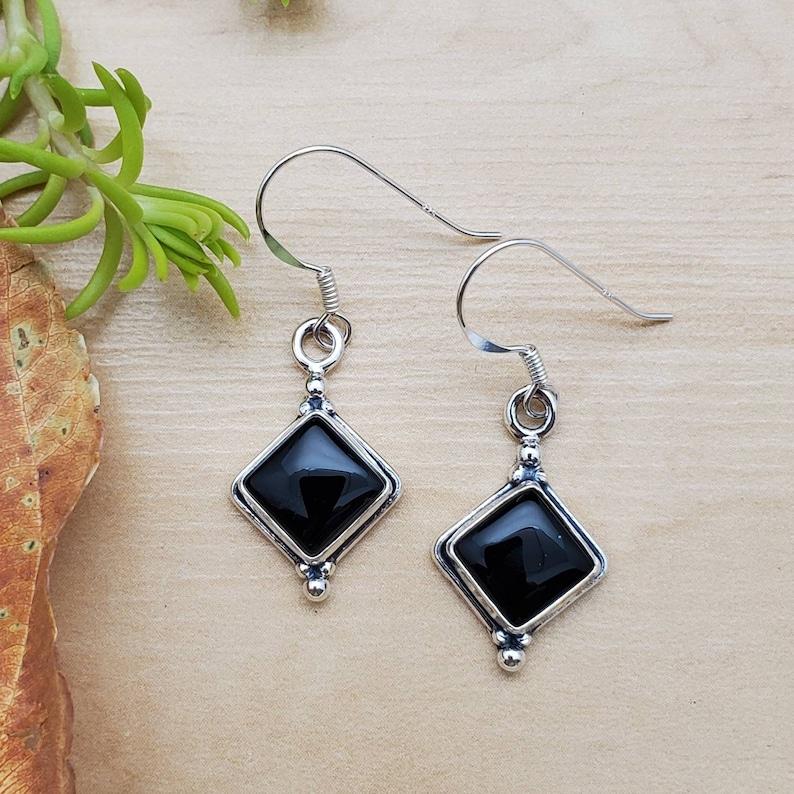 SoCute925 Square Black Dangle Earrings Sterling Silver Dangle Earrings Black Onyx Jewelry Dainty Black Earrings Silver Black Earrings