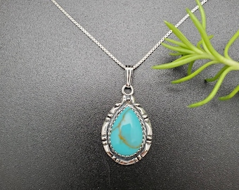 """SoCute925 Kingman Turquoise Pendant With Sterling Silver Chain 18"""" 