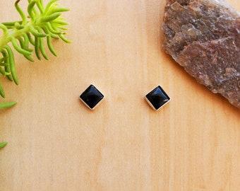 SoCute925 5mm Black Onyx Post Earrings | Black Square Studs | Sterling Silver Black Onyx Jewelry | Simple Black Studs | Dainty Black Earring