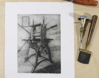 Mezzotint Drypoint Print of Antique Intaglio Etching Press. Original art printmaking, Small, detailed handmade artist print, Todd Tremeer