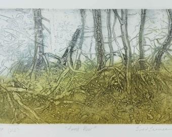 Landscape Etching of Trees, Original Art Color Aquatint Intaglio Printmaking, Wild Nature Forest Woodlands, Canadian Artist Todd Tremeer.